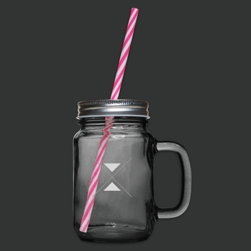 hipster triangles - Glass jar with handle and screw cap