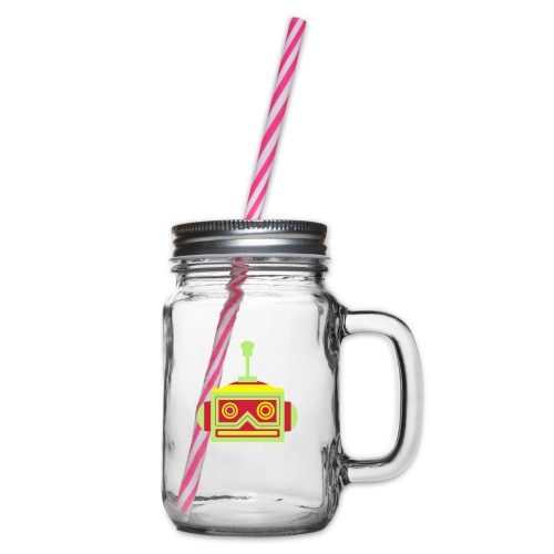 Robot head - Glass jar with handle and screw cap