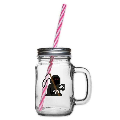 Pixelart Grim Reaper - Glass jar with handle and screw cap