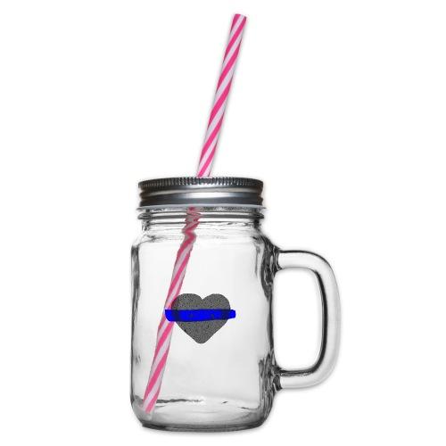 serduszko blu - Słoik do picia z pokrywką