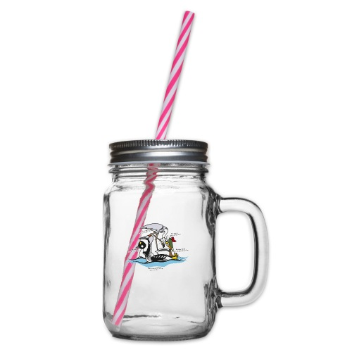 Birds of a Feather - Glass jar with handle and screw cap