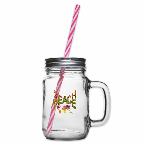Teach Peace - Glass jar with handle and screw cap