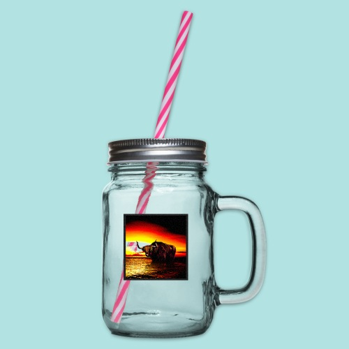 Wandering_Bull - Glass jar with handle and screw cap