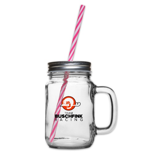 Team logo Buschfink - Glass jar with handle and screw cap