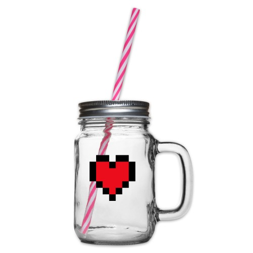 Pixel Heart - Drinkbeker met handvat en schroefdeksel