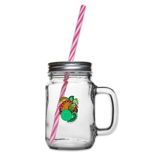 Coloured Leaf Mandala - Glass jar with handle and screw cap