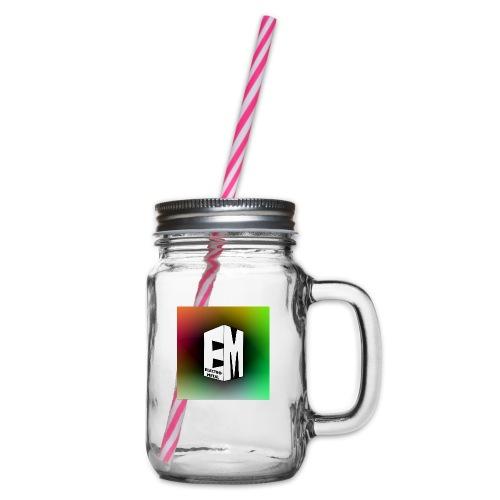 ElectroMetal_Logo - Glass jar with handle and screw cap