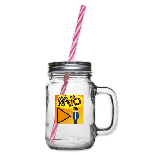 Nacho Title with Little guy - Glass jar with handle and screw cap