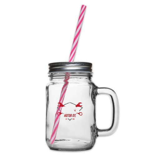 Motor Oil Tee - Glass jar with handle and screw cap
