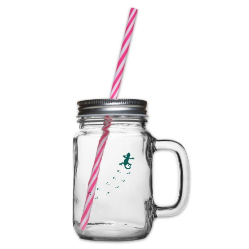 Messy Lizard Paws - Glass jar with handle and screw cap