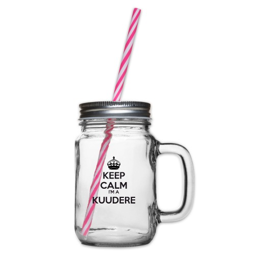 Kuudere keep calm - Glass jar with handle and screw cap