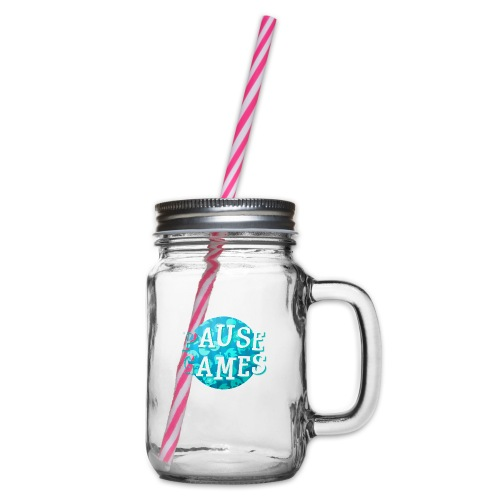 Pause Games New Design Blue - Glass jar with handle and screw cap