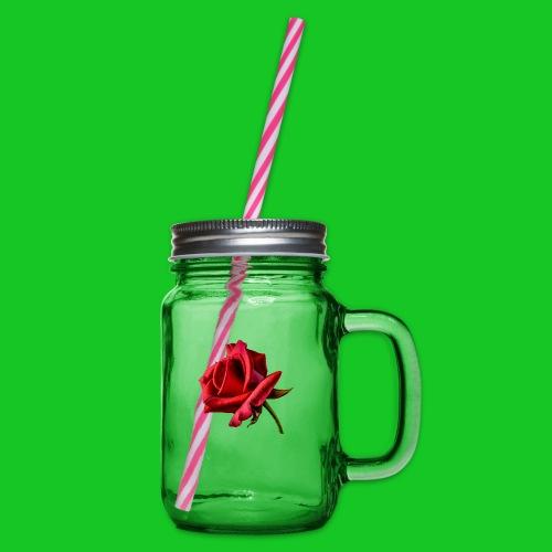 Rode roos - Drinkbeker met handvat en schroefdeksel