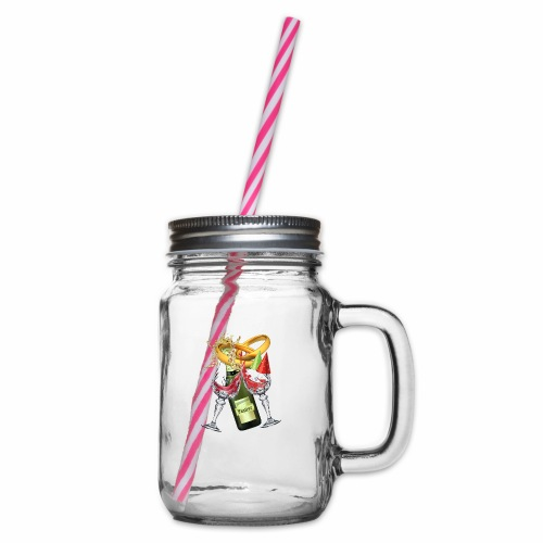 Wedding party - Glass jar with handle and screw cap