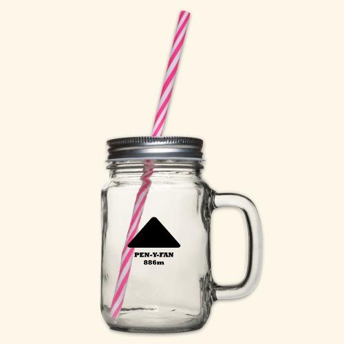 Pen-y-Fan black - Glass jar with handle and screw cap