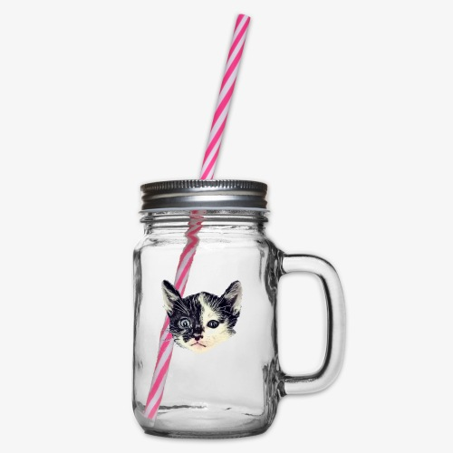 Double sided - Glass jar with handle and screw cap