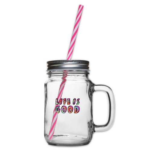 LifeIsGood - Glass jar with handle and screw cap