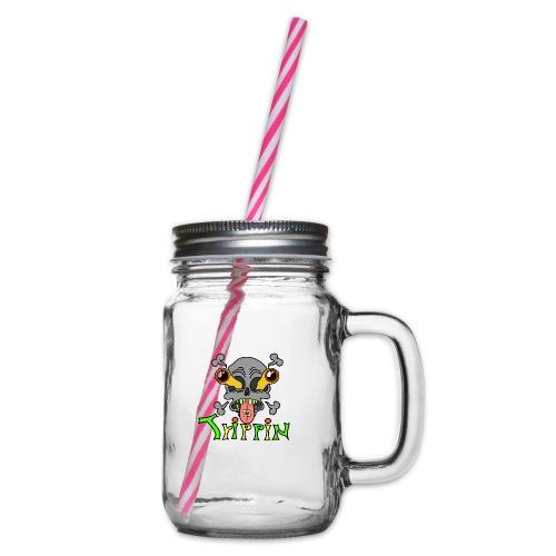 Totenkopf Trippin Design - Henkelglas mit Schraubdeckel
