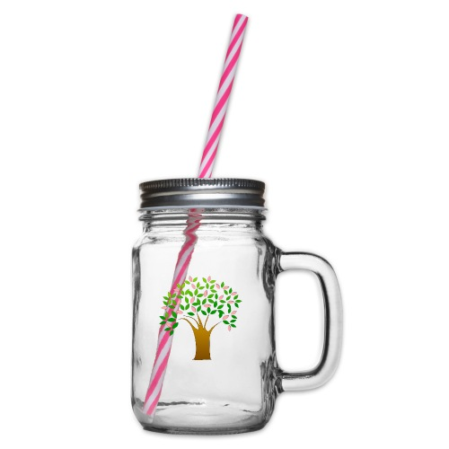Tree of Life - Glass jar with handle and screw cap