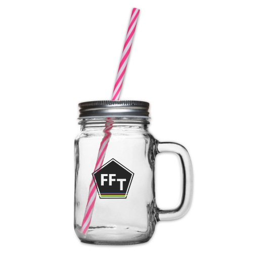 FFT logo colour (Fastfitnesstips) - Glass jar with handle and screw cap
