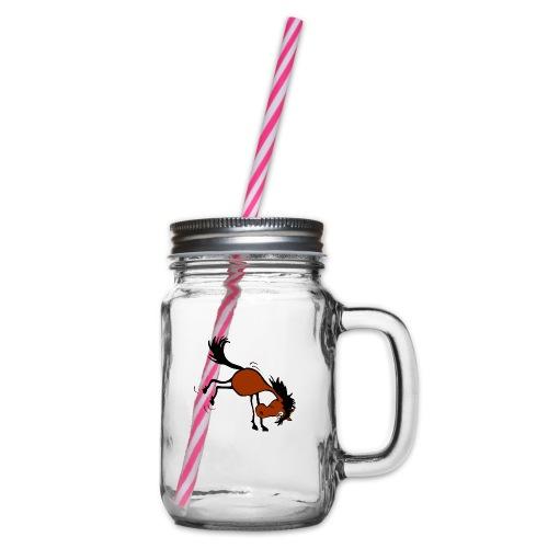 buckelndes Pferd - Henkelglas mit Schraubdeckel