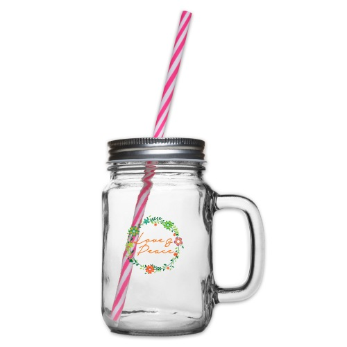 Love and Peace - Glass jar with handle and screw cap