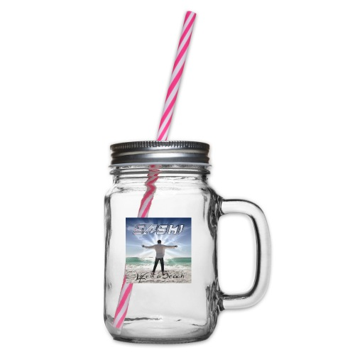 Life Is A Beach Cover - Glass jar with handle and screw cap
