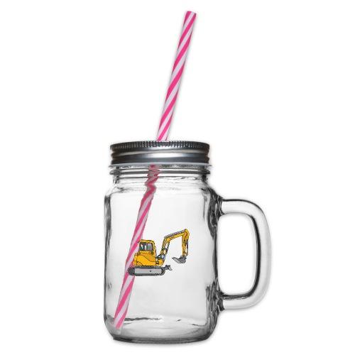 Gelber Bagger - Henkelglas mit Schraubdeckel