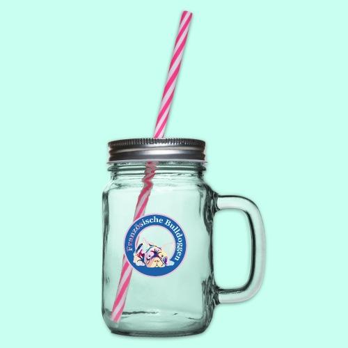 Französische Bulldoggen rosa blau - Henkelglas mit Schraubdeckel