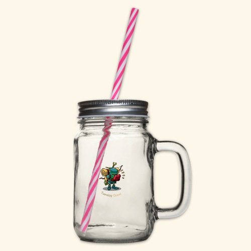 Tuesday Quest Logo - Glass jar with handle and screw cap