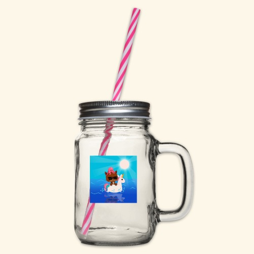 Summer Vibes - Glass jar with handle and screw cap