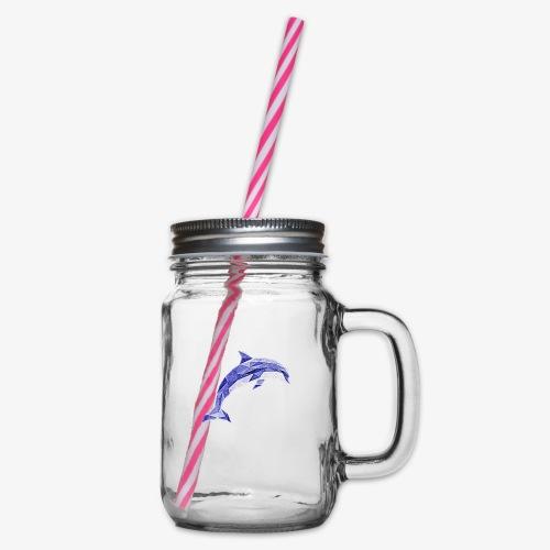 Delfin - Słoik do picia z pokrywką