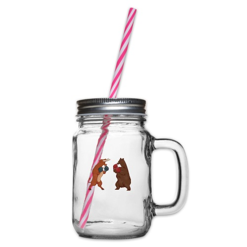 Bull and bear - Glass jar with handle and screw cap