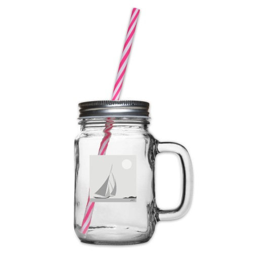 sailing ship - Glass jar with handle and screw cap