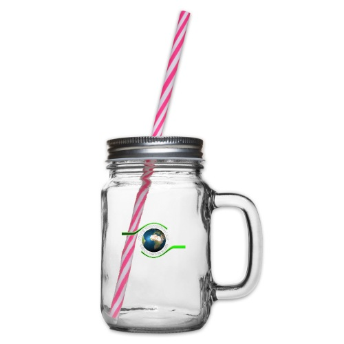 LOGO white font - Glass jar with handle and screw cap