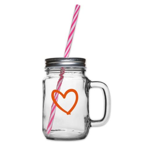 Heart Lines Pixellamb - Henkelglas mit Schraubdeckel