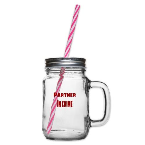 Partner in crime red - Glas med handtag och skruvlock