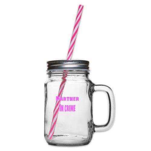Partner in crime pink - Glas med handtag och skruvlock