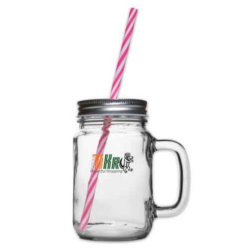 DerTiKro Transparent - Henkelglas mit Schraubdeckel