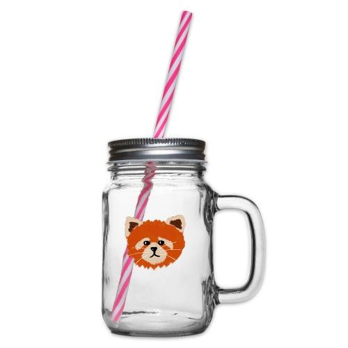 Amanda the red panda - Glass jar with handle and screw cap