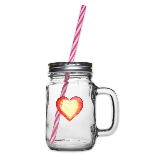 Burning Fire heart - Glass jar with handle and screw cap