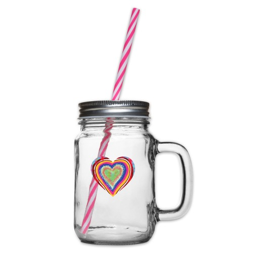 A heart in hearts is pure love on many levels - Glass jar with handle and screw cap