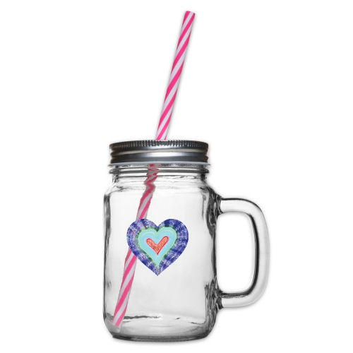 HeartSpread 18Little red heart in a green garden - Glass jar with handle and screw cap