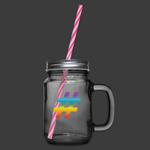 rainbow hash include - Glass jar with handle and screw cap