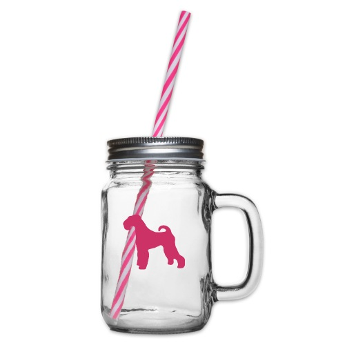 PINK Airedale Terrier - Glass jar with handle and screw cap