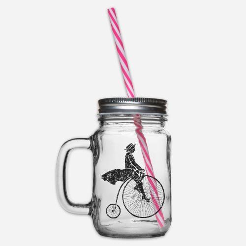 Frau auf Hochrad | Woman on a Penny-Farthing - Henkelglas mit Schraubdeckel