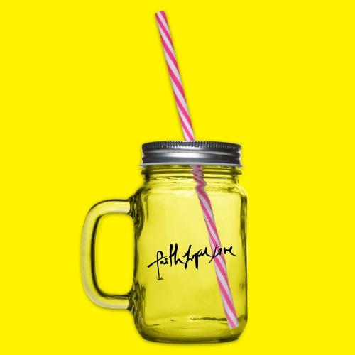 Faith Hope Love - Glass jar with handle and screw cap