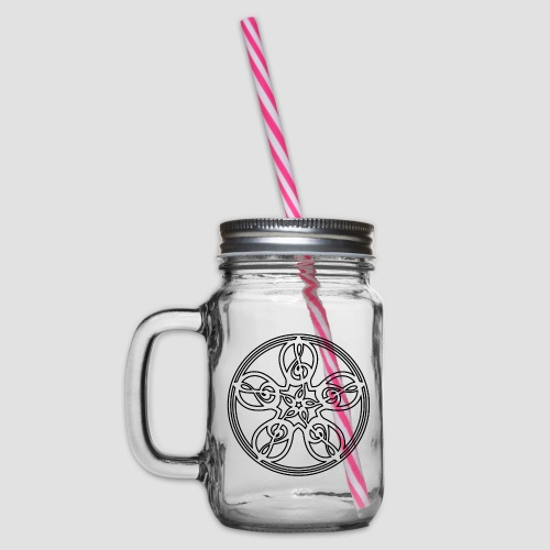 Treble Clef Mandala (black outline) - Glass jar with handle and screw cap