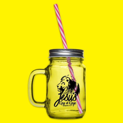 JESUS - KING OF KINGS - Revelations 19:16 - LION - Glass jar with handle and screw cap