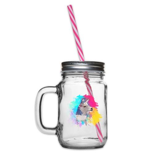 Colorful Llama - Drikkekrus med skruelåg